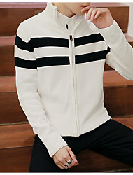 cheap -Men's Daily Casual Regular Cardigan,Striped Turtleneck Long Sleeves Polyester Winter Medium Micro-elastic