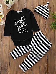 cheap -Baby Girls' Cotton Daily Stripe One-Pieces, Cotton Polyester Spring/Fall Hat One Piece Casual Euramerican Knitwear Long Pant Black