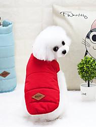 economico -Gatto Cane Cappottini Gilè Vestiti invernali Abbigliamento per cani Lettere & Numeri Giallo Rosso Blu Nylon Terylene Costume Per animali