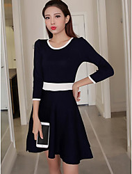 Women's Casual/Daily A Line Loose Little Black Dress,Striped Round Neck Above Knee Long Sleeves Acrylic Spring High Rise Micro-elastic