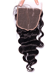 cheap -Lace Closure Free Part 5x5 Loose Wave Weave Peruvian Human Hair Bleached Knots With Natural Hair line Remy Hair