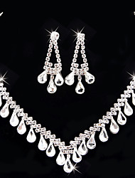 cheap -Women's Jewelry Set Bridal Jewelry Sets Classic Fashion Wedding Evening Party Silver Plated 1 Necklace Earrings