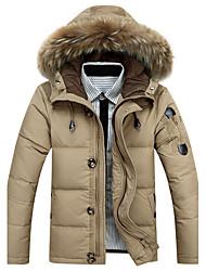 Manteau Doudoune Homme,Normal Sortie Décontracté / Quotidien Couleur Pleine-Coton Duvet de Canard Blanc Manches Longues
