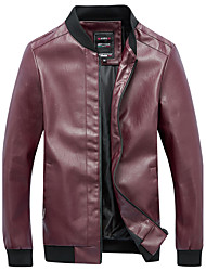 cheap -Men's Plus Size Leather Jacket - Solid Stand