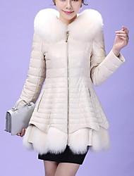 economico -Cappotto di pelliccia Da donna Per uscire Semplice Moda città Inverno,Tinta unita Con cappuccio Pelliccia sintetica PU (Poliuretano)