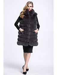 Feminino Colete Casual Sofisticado Outono Inverno,Sólido Padrão Pêlo de Raposa Colarinho Chinês