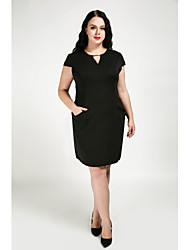 abordables -Femme Grandes Tailles Courte Robe Couleur Pleine Col en V