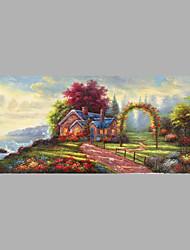 Ručně malované Lidé Horizontální,rustikální design Středomořský Pastýřský Plátno Hang-malované olejomalba For Home dekorace