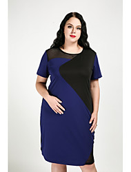 cheap -Cute Ann Women's Daily Plus Size Casual Sexy Street chic Shift Dress,Color Block Round Neck Knee-length Short Sleeves Cotton Polyester Spandex