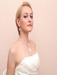 cheap -Women's Drop Earrings Necklace Rhinestone Wedding Party Alloy Leaf Necklace Earrings
