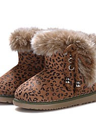 cheap -Girls' Shoes Leather Fleece Winter Comfort First Walkers Bootie Fur Lining Fluff Lining Boots Booties/Ankle Boots Animal Print for Casual