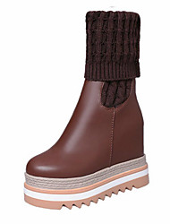 cheap -Women's Shoes Knit Pigskin Synthetic Fall Winter Comfort Fashion Boots Slouch Boots Boots Creepers Round Toe Mid-Calf Boots Split Joint