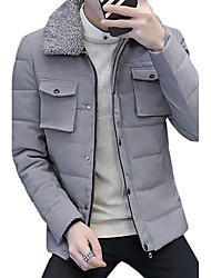 Manteau Rembourré Homme,Normal simple Décontracté / Quotidien Grandes Tailles Couleur Pleine-Coton Acrylique Polyester Polyester Manches