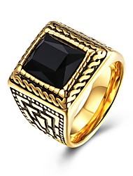 cheap -Men's Knuckle Ring Band Rings Crystal AAA Cubic Zirconia Fashion Vintage Stainless Steel Gold Plated Geometric Irregular Jewelry For