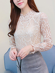 cheap -Women's Party Daily Boho Blouse,Solid Round Neck Long Sleeves Cotton
