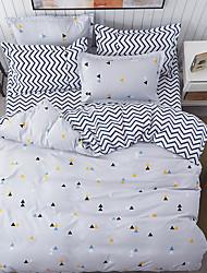 cheap -Duvet Cover Sets Solid 4 Piece 100% Cotton Reactive Print 100% Cotton 4pcs (1 Duvet Cover, 1 Flat Sheet, 2 Shams)