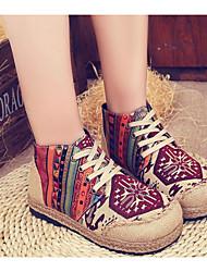 baratos -Mulheres Sapatos Malha Respirável / Couro Ecológico Primavera / Outono Conforto Tênis Salto Robusto Botas Curtas / Ankle Vermelho / Azul