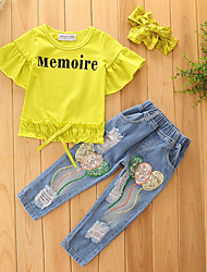 cheap -Girls' Solid Print Clothing Set,Cotton Polyester Summer Fall Short Sleeve Floral Dresswear Yellow