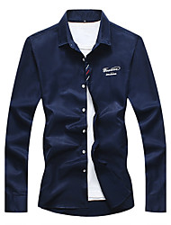 cheap -Men's Casual Plus Size Cotton Shirt - Embroidery Letter, Embroidered