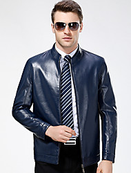 cheap -Men's Daily Vintage Winter Fall Leather Jackets,Solid Stand Long Sleeve Regular Lambskin