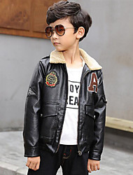 cheap -Boys' Embroidered Jacket & Coat,PU Winter Fall Long Sleeve Cartoon Black