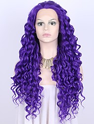 cheap -Women Synthetic Wig Lace Front Medium Length Wavy Blue Royal Blue Lolita Wig Party Wig Halloween Wig Carnival Wig Cosplay Wig Natural Wigs