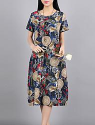 cheap -Women's Daily Loose Dress,Print Round Neck Midi Short Sleeves Cotton Linen Summer Mid Rise Micro-elastic Thin