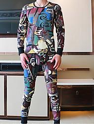 Miesten Puuvilla Polyesteri Spandex Pyjaman-, Miesten
