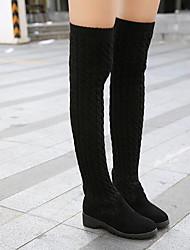 Недорогие -Для женщин Обувь Шерсть Зима Осень Модная обувь Ботинки На толстом каблуке Ботинки Сапоги выше колена для Повседневные Черный Серый