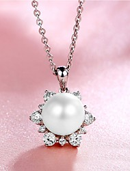 cheap -Women's Round Snowflake Fashion Elegant Pendant Necklace Pearl Pearl Sterling Silver Pendant Necklace , Engagement Evening Party
