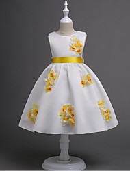 Ball Gown Short / Mini Flower Girl Dress - Organza Sleeveless Jewel Neck with Flower(s) Pearl Detailing Sash / Ribbon by YDN