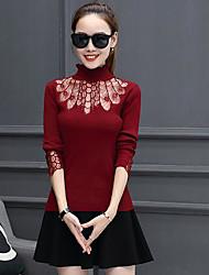 Standard Cardigan Da donna-Casual Tinta unita A collo alto Manica lunga Cotone Autunno Inverno Medio spessore Media elasticità