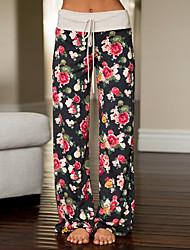 economico -Da donna A vita medio-alta Media elasticità Dritto Chino Pantaloni della tuta Pantaloni,Fantasia floreale Poliestere Primavera Autunno