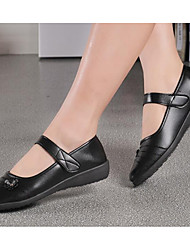 cheap -Women's Shoes Nappa Leather Winter Fall Comfort Flats Flat Heel Booties/Ankle Boots for Casual Black
