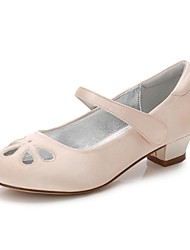 Girls' Shoes Satin Spring Fall Comfort Ballerina Flower Girl Shoes Tiny Heels for Teens Ankle Strap Heels Buckle Split Joint Hollow-out