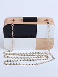cheap -Women's Bags Wood Clutch Buttons Black / White
