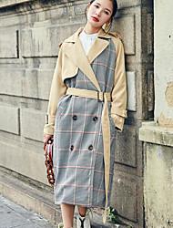 Impermeabile Da donna Casual Semplice Autunno,Monocolore A quadri Colletto Cotone Poliestere Lungo Manica lunga