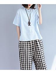 cheap -Women's Daily Casual Shirt,Plaid Stand Short Sleeves Linen