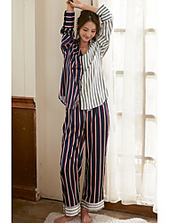 cheap -Women's Pajamas,Striped Polyester Blue Blushing Pink