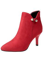 baratos -Mulheres Sapatos Couro Ecológico Outono / Inverno Botas da Moda / Curta / Ankle Botas Salto Agulha Dedo Apontado Botas Curtas / Ankle