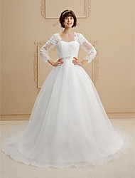 cheap -Ball Gown Queen Anne Chapel Train Lace Organza Wedding Dress with Beading Sashes/ Ribbons by LAN TING BRIDE®