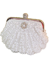 cheap -Women's Bags Satin Evening Bag Beading / Crystals / Pearls White / Beige / Wedding Bags