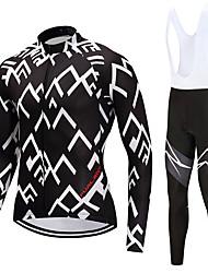 FUALRNY® Fahrradtrikot mit Trägerhosen Herrn Langarm Fahhrad Kleidungs-Sets Hochelastisch Vlies Winter Radsport/Fahhrad Weiß