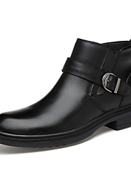 cheap -Men's Shoes Nappa Leather Fall / Winter Fluff Lining / Comfort Boots Mid-Calf Boots Black