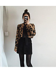 cheap -Women's Daily Regular Pullover,Leopard Round Neck Long Sleeves Acrylic Fall Medium Micro-elastic
