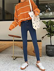 cheap -Women's Micro-elastic Jeans Pants,Casual Color Block Winter Fall