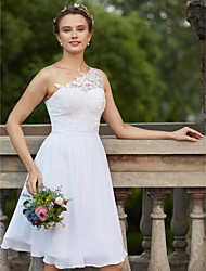 cheap -A-Line One Shoulder Knee Length Chiffon Lace Wedding Dress with Appliques Sash / Ribbon by LAN TING BRIDE®