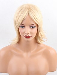 Women Human Hair Capless Wigs Beige Blonde//Bleach Blonde Yellow Black Medium Length Middle Part