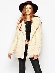 Women's Casual/Daily Simple Fall Winter Fur Coat,Solid Notch Lapel Long Sleeve Long Rex Rabbit Fur