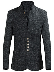Men's Work Plus Size Chinoiserie Spring Fall Blazer,Solid Stand Long Sleeve Regular Polyester Others